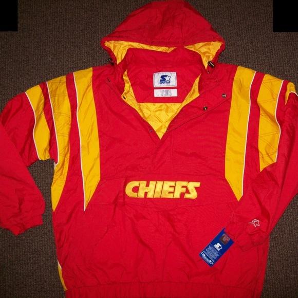 KANSAS CITY CHIEFS Starter Half Zip Hooded Jacket Boutique